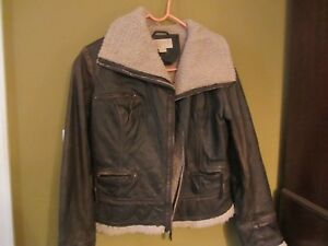 MICHAEL KORS brown distressed leather shearling jacket coat military moto M