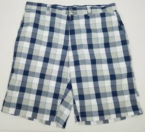 Callaway Golf Shorts Blue & Gray Plaid & Checkered 100% Polyester Mens Size 34