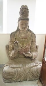 2m VERY TALL Song Dynasty Old Wood Guan Yin Statue Chinese Antique Carving #950