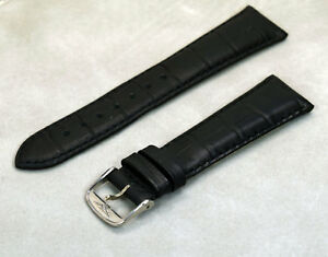 NEW Genuine Longines 20mm Black Leather Men's Watch Bracelet Strap L-600086453