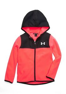 Under Armour Girls Hundo Lightweight Fleece Zip-Up Hoodie Size 4 Penta Pink