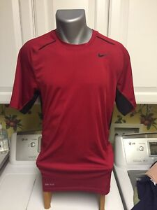 Nike Dri Fit Men's Athletic T Shirt Team Training Workout Red & Black Size Small