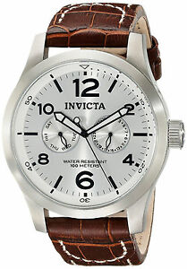 Invicta Silver Watch Reloj Leather Strap Man Dress Bracelet Band Hombre Hand