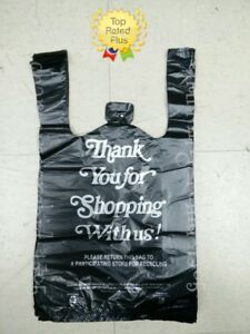 HDPE Black Thank You T-Shirt Bags Bag 1/8 Plastic Shopping Bags 10