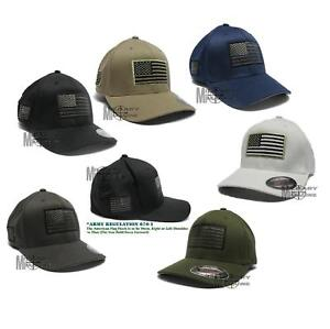 USA American Flexfit Structured Tactical Cap Military Army small US Flag On Side $16.99