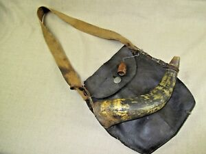 Early Original Rev War Era Hunting Bag and Powder Horn With Horn Measure