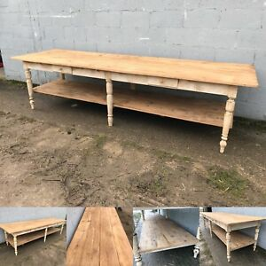 10ft+ Long Antique French Drapers Table Vintage Original Bakers Shop Display