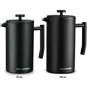 Belwares Stainless Steel Large French Press Coffee Maker with Extra Filters $39.99