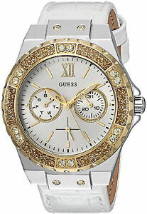 Guess Mujer Bracelet Reloj Leather Band Crystal Gold Oro Steel Case Hand Watch