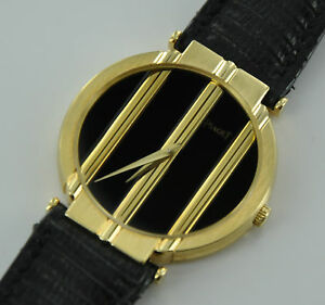 PIAGET POLO 8673 18k Yellow Gold & Black Leather Bracelet Women's Watch
