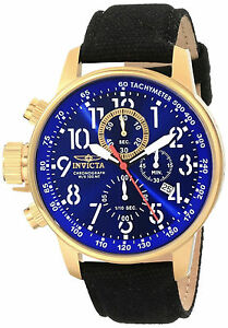 Invicta Gold Watch Hombre Reloj Canvas Leather Strap Crystal Bracelet Hand Lefty