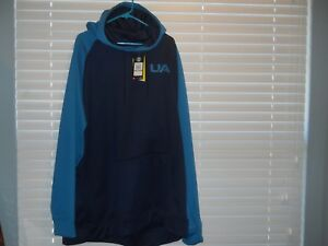 MENS NWT UNDER ARMOUR UA STORM FLEECE COLORBLOCK PULLOVER HOODIE; SIZE 4XL; BLUE