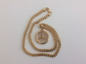 Stainless Steel Gold Mercedes Benz charm pendant chain necklace Tupac Biggie Uzi