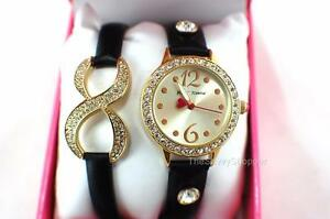BETSEY JOHNSON Gold & Black Leather Crystal Watch & Eternity Bracelet BJ00536-04