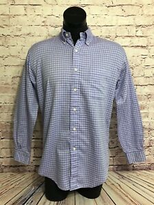 Brooks Brothers Sport Mens Purple Checkered Button Down Long Sleeve Shirt Size S