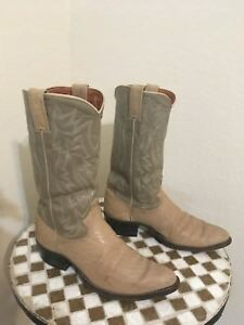 VINTAGE JUSTIN IVORY ELEGANT TEXAS MADE WESTERN RANCH WORK COWBOY BOOTS 7.5 D