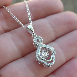 1.50ct Round cut Diamond Rhythm IN MOTION Pendant Necklace 925 Sterling