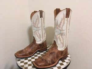 BROWN JUSTIN BRL336 SQUARE TOE DISTRESSED RANCH WORK BOOTS 10 B