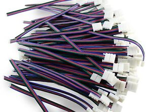 20Pcs/lot 10mm 4 Pin Male Female PCB Connector Cable For RGB 5050 LED Strips