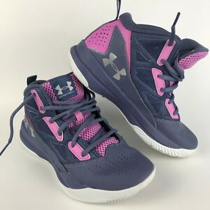 Under Armour Kids Girls Shoes Magenta Pink Sz 4.5Y Jet Mid Basketball Summer