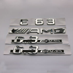 4x E63  AMG  6.3 AMG Letters Trunk Embl Badge Sticker for 2018 Mercedes Benz