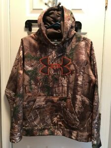 NEW Under Armour Big Logo Fleece Lined Realtree Hoodie Camo Youth XL