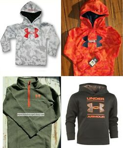 UNDER ARMOUR BOYS SIZE 6 ~ FOUR HOODIE SWEATSHIRTS  CAMOUFLAGE ~ ORANGE $173