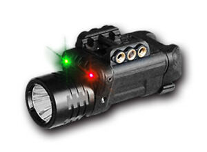 Tactical LED Flashlight w Strobe and WE Adjustable RedGreen Laser Combo