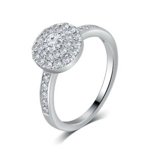 14K White Gold 78ct TDW Diamond Cup Cake Halo Engagement Ring by Unique Design