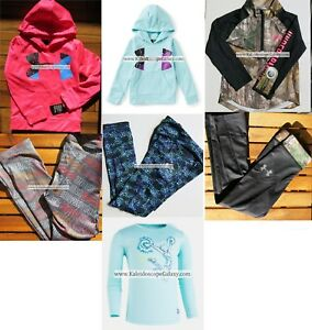 UNDER ARMOUR GIRLS 6 ~ LEGGINGS ~ HOODIE SWEATSHIRTS ~ TOPS 7PC NEW $235