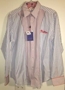 Men's Robert Graham Philadelphia Phillies MLB Baseball Button Down Shirt XL NEW