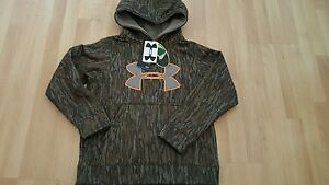 Under Armour Boys Youth Sz M ColdGear Camo Pullover Hoodie Sweatshirt Mossy Oak