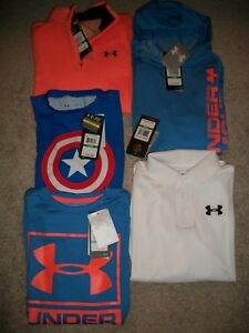 NWT LOT OF 5 BOYS SIZE YLG UNDER ARMOUR LOOSE FIT HOODIES LS SS TOPS MSRP $194