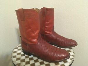 RED 3108 USA VINTAGE OSTRICH JUSTIN DISTRESSED RANCH WORK TRUCKER BOOTS 13 D
