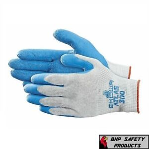 SHOWA ATLAS FIT 300 NATURAL RUBBER PALM COATED WORK GLOVES BLUE, GENERAL PURPOSE