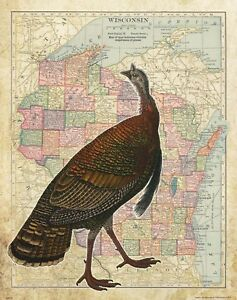 Vintage Wisconsin State Map Turkey Hunting Box Call Cabin Art Wall Decor Gift