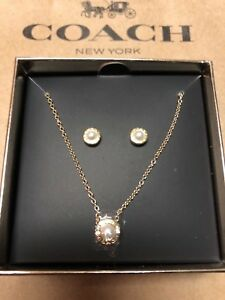 Authentic Coach Gold Open Circle Pearl Earring & Necklace Set F24254