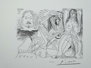 Picasso Pablo - the Lord and Two Women Nude - Lithography Signed #1200ex