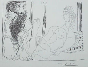 Picasso Pablo - Woman Aguicheuse and Man Pensive - Lithography Signed #1200ex