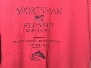 VTG Polo Sport Ralph Lauren Red T Shirt Flag Spell Out Large L Sportsman Fish NY