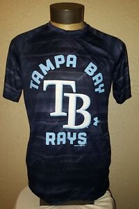 NEW Under Armour MLB Team Apparel Tampa Bay Rays Dry Fit Blue T-Shirt Mens Small