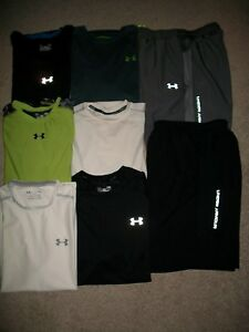 GUC! LOT OF 8 MENS SIZE L UNDER ARMOUR HEAT GEAR PANTS SHORTS 6 TOPS