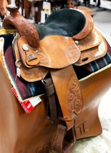 "Reinsman 16"" Pleasure Show Saddle – Tooling & Silver  Pre-Owned – Good Condition"