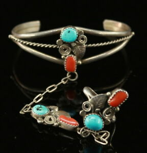 NAVAJO Signed RN ~Turquoise Coral~Attached Sterling Bracelet Ring Slave Bracelet