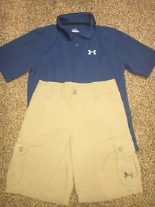 Boys Under Armour Beige Cargo Shorts Blue Golf Polo Shirt Outfit Youth Medium
