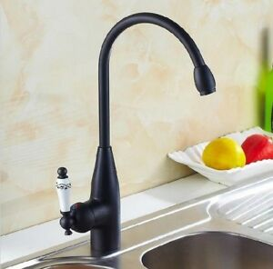Oil Rubbed Bronze Ceramic Handles Kitchen Sink Swivel Mixer Taps Faucet Psf109