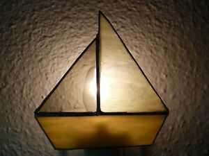 Stained Glass Night Light Yellow SailBoat Handmade Bathroom Bedroom Beach Decor