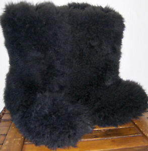 AUTHENTIC UGG AUSTRALIA FLUFF MOMMA SHEEPSKIN BLACK BOOTS Shoes SIZE 8