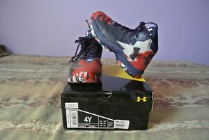 USED Boys Grade School UA Under Armour Curry 2.5 Sneakers size 4 red white blue