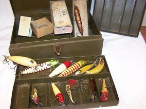 12 Vintage Fishing  Lures W Falls City Tackle box.